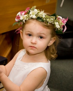 My niece, Maci, was a flower girl.  Janet created the headpiece that Maci wore out of fresh flowers.