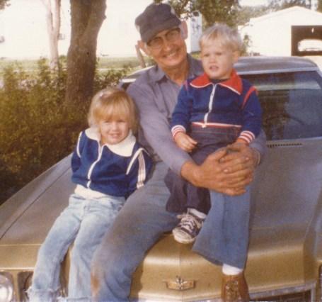 Me & Dan with Grandpa Leslie, 1979.