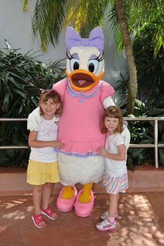 Ashley was enamored of Daisy Duck's shoes.